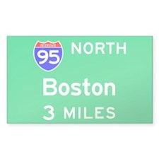 Boston MA, Interstate 95 North Sticker (Rectangula
