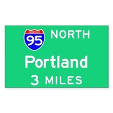Portland ME, Interstate 95 North Sticker (Rectangu