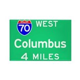 Columbus OH, Interstate 70 West Rectangle Magnet