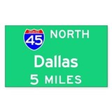 Dallas TX, Interstate 45 North Sticker (Rectangula