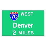 Denver CO, Interstate 70 West Sticker (Rectangular
