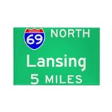 Lansing MI, Interstate 69 North Rectangle Magnet