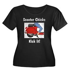 Chicks Kick It Women's Plus Size Scoop Neck Dark T