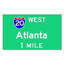 Atlanta GA, Interstate 20 West Sticker (Rectangula