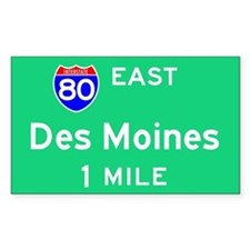 Des Moines IA, Interstate 80 East Decal