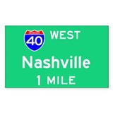 Nashville TN, Interstate 40 West Sticker (Rectangu