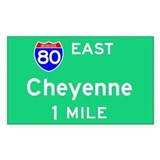 Cheyenne WY, Interstate 80 East Sticker (Rectangul