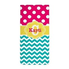 Pink Teal Yellow Dots Chevron Monogram Beach Towel