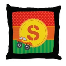 Personalized Kids Monster Truck Monogram Throw Pil