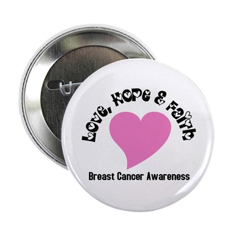 "Pink Heart-Breast Cancer 2.25"" Button (10 pack)"