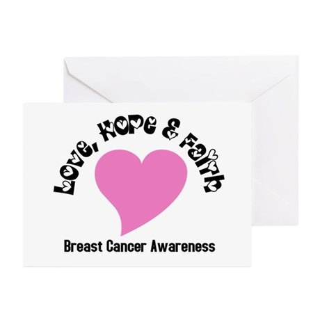 Pink Heart-Breast Cancer Greeting Cards (Pk of 10)