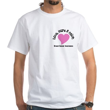 Pink Heart-Breast Cancer White T-Shirt