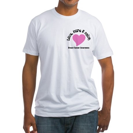 Pink Heart-Breast Cancer Fitted T-Shirt