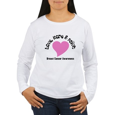 Pink Heart-Breast Cancer Women's Long Sleeve T-Shi