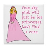 Pink Princess Find a Cure Tile Coaster