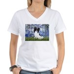 Lilies (#6) & Papillon Women's V-Neck T-Shirt