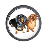 Double Dachshund Dogs Wall Clock