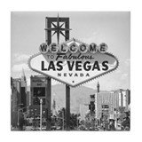Las Vegas Strip & Sign black & white Tile Coaster