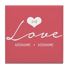 Elegant Personalized Names Heart Love Tile Coaster
