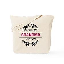 World's Greatest Grandma Custom Name Tote Bag