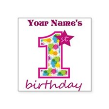 "1st Birthday Splat - Person Square Sticker 3"" x 3"""