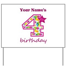 4th Birthday Splat - Personalized Yard Sign