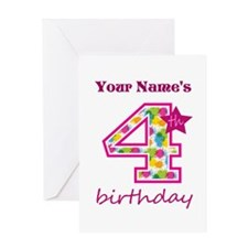 4th Birthday Splat - Personalized Greeting Card