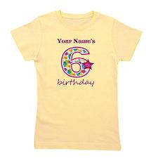6th Birthday Splat - Personalized Girl's Tee
