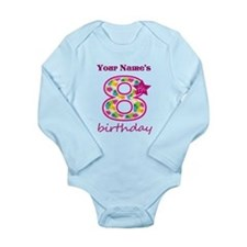 8th Birthday Splat - P Long Sleeve Infant Bodysuit