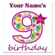 "9th Birthday Splat - Per Square Car Magnet 3"" x 3"""