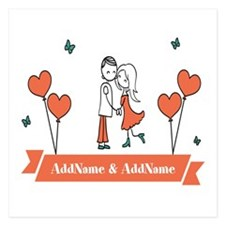 Personalized Names Couple H 5.25 x 5.25 Flat Cards