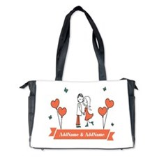 Personalized Names Couple Hearts Diaper Bag