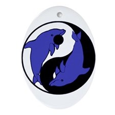 Yin Yang Dolphins 2 Oval Ornament
