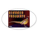Ringneck Pheasants Oval Sticker