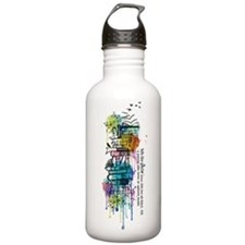 Watercolor Books Stack Water Bottle
