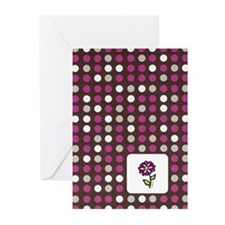 Plum Dots with Flower Greeting Cards (Pk of 10)