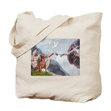 Creation of Man & Weimaraner Tote Bag