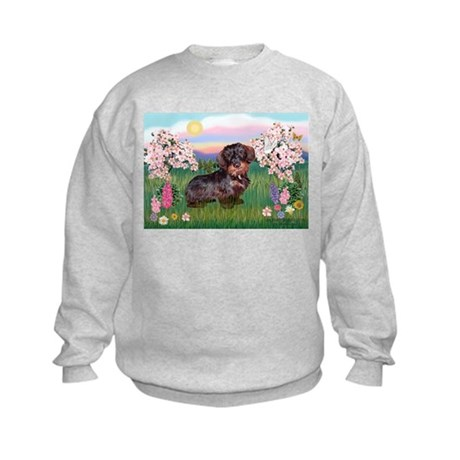 Blossoms / Dachshund Kids Sweatshirt