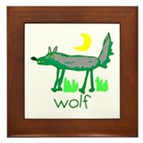 Kid Art Wolf Framed Tile