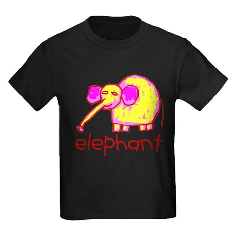 Kid Art Elephant Kids Dark T-Shirt