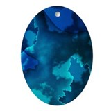 Brilliant Blues Fractal Keepsake (Oval)