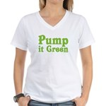 Pump it Green Women's V-Neck T-Shirt