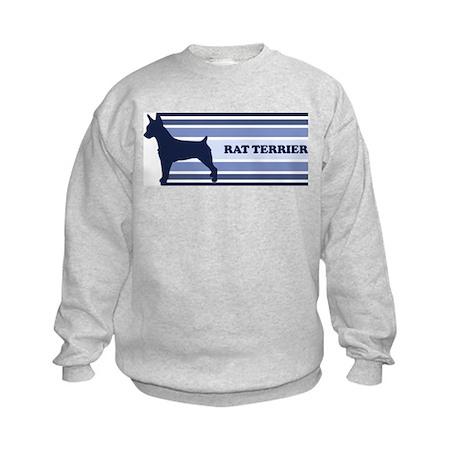 Rat Terrier (retro-blue) Kids Sweatshirt
