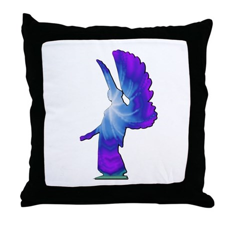 Blue Rainbow Angel Throw Pillow