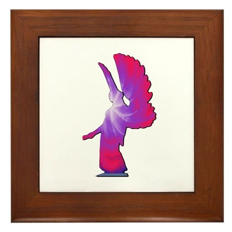 Pink Rainbow Angel Framed Tile