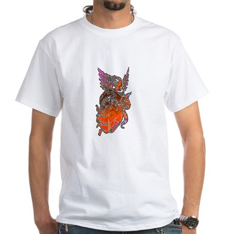 Pretty Orange Angel White T-Shirt