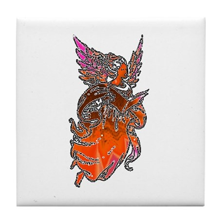 Pretty Orange Angel Tile Coaster