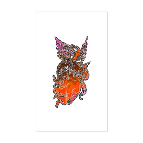 Pretty Orange Angel Rectangle Sticker