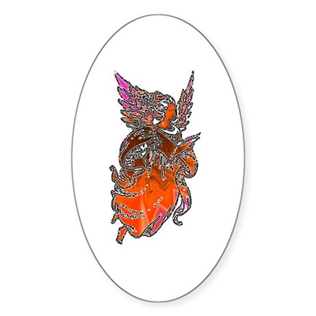 Pretty Orange Angel Oval Sticker