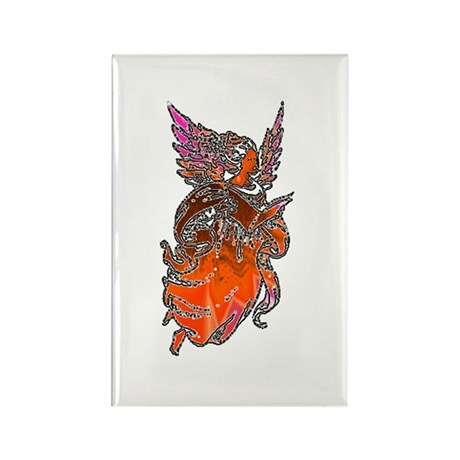Pretty Orange Angel Rectangle Magnet (10 pack)